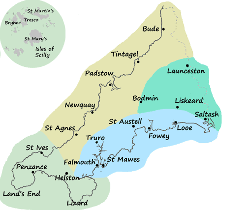 Regions of Cornwall